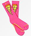 Psockadelic Doughnut Pizza Neon Pink Crew Socks