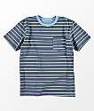 RVCA Boys 5 Stripe Antique Blue T-Shirt