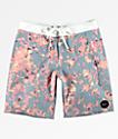 RVCA Granite Floral shorts de baño en azul claro y rosa