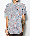 RVCA Happy Thoughts White Floral Short Sleeve Button Up Shirt