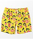 RVCA LP Yellow & Floral Elastic Waist Board Shorts
