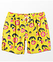 RVCA LP Yellow & Floral Elastic Waist Boardshorts