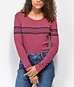 RVCA Liner Note Maroon Long Sleeve T-Shirt