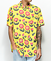 RVCA Pelletier Floral Yellow Short Sleeve Button Up Shirt