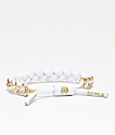 Rastaclat Miniclat North Star pulsera blanca y dorada