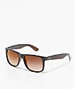 Ray-Ban Justin gafas de sol de espejo degradada en marrón y rojo