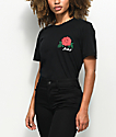 Rebel Soul Fuck It Rose camiseta negra