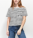 Rewash Black & White Stripe Boxy Crop T-Shirt