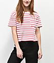 Rewash Pink & White Stripe Boxy Crop T-Shirt