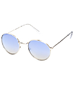 Round Blue Mirrored Fashion Sunglasses