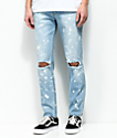Rustic Dime Coastline Slashed Knee Bleached Blue Jeans