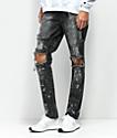 Rustic Dime Knee Blowout Concrete Camo & Black Denim Jeans
