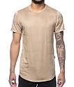 Rustic Dime camiseta alargada de suede en caqui