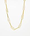 """Saint Midas CZ Paper Clip Yellow Gold 22"""" Chain Necklace"""