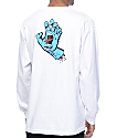 Santa Cruz Screaming Hand Logo Text White Long Sleeve T-Shirt