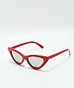 Sheena Red & Silver Mirror Cat Eye Sunglasses