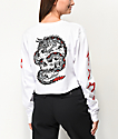 Sketchy Tank Dragon White Long Sleeve Crop T-Shirt