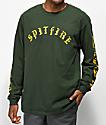 Spitfire Old E camiseta de manga larga verde