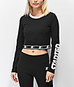 Starter Fitted Crop Black Long Sleeve T-Shirt