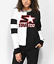 Starter Fly Girl sudadera con cuello redondo negro y blanco