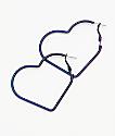 """Stone + Locket 2"""" pendientes de aro iridiscente de corazones"""