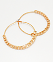 Stone + Locket Flat Chain Gold Hoop Earrings