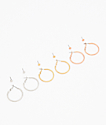 Stone + Locket Glitter Stud & Hoop Earring 6 Pack