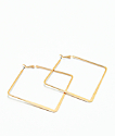 Stone + Locket Gold Square Hoop Earrings