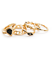 Stone + Locket Seeing Eye 5 pack anillos en negro y color oro