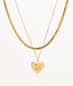 Stone + Locket Snake Locket Necklace 2 Pack