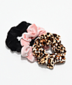 Stone + Locket Velvet Leopard Scrunchie 3 Pack