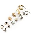 Stone + Locket Yin Yang, Hamsa & Mini Hoop Multipack Earrings