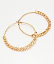Stone + Locket pendientes de aro de oro de cadena plana