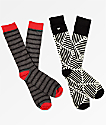 Supra 2 Pack Casual Grey & Black Crew Socks