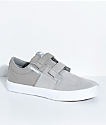Supra Boys Stacks II Grey, White, Hook & Loop Fastened Skate Shoes