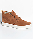 Supra Kensington LK Brown & White Suede Skate Shoes