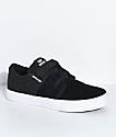 Supra Kids Stacks II Black, White, Hook & Loop Fastened Skate Shoes