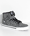 Supra Kids Vaider Heather Black Knit Skate Shoes