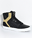 Supra Skytop EVO Black, Gold, Leather & Lycra Skate Shoes