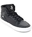 Supra Vaider Black Canvas & Leather Kids Skate Shoes