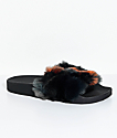 TheWhiteBrand Triangles Orange & Black Fur Slide Sandals