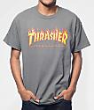 Thrasher Flame Logo Charcoal T-Shirt