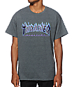 Thrasher Flame Logo Purple & Charcoal T-Shirt
