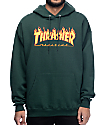 Thrasher Flame Logo sudadera con capucha en color verde