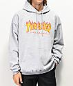 Thrasher Flame Logo sudadera con capucha gris