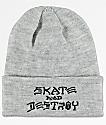 Thrasher Skate And Destroy Heather Grey Beanie
