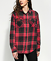 Thread & Supply Red & Black Acid Wash Flannel Button Up Shirt