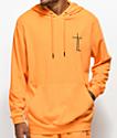 Traplord sudadera naranja con capucha de rizo francés