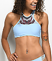 Trillium Barbados Blue Embroidered High Neck Bikini Top