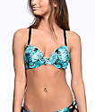 Trillium Bermuda Jungle Black & Teal Molded Bra Bikini Top